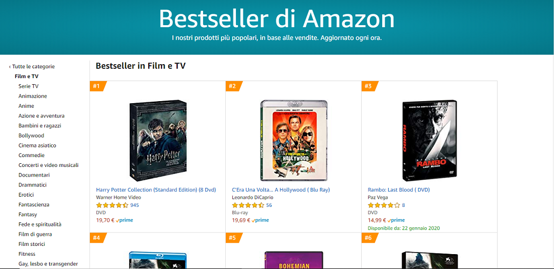 Bestseller Film e Serie TV su Amazon