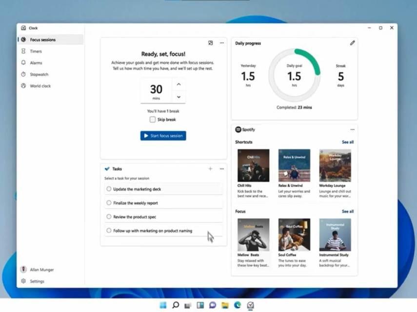 La nuova funzione Focus Sessions di Windows 11 ti aiuterà ad aumentare la tua produttività