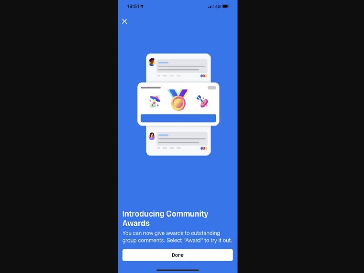"""Facebook """"sforna"""" un nuovo strumento per incoraggiare il coinvolgimento nei gruppi: i Community Awards"""