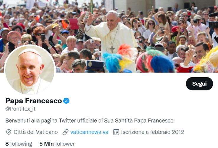 Gli hashtag di tendenza sul profilo Twitter di Papa Francesco