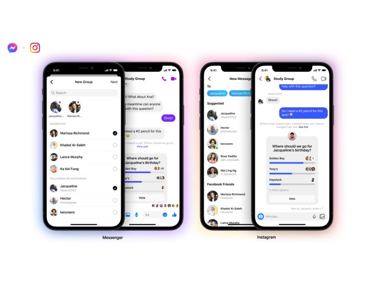 Facebook Messenger e Instagram: al via la fusione delle chat di gruppo