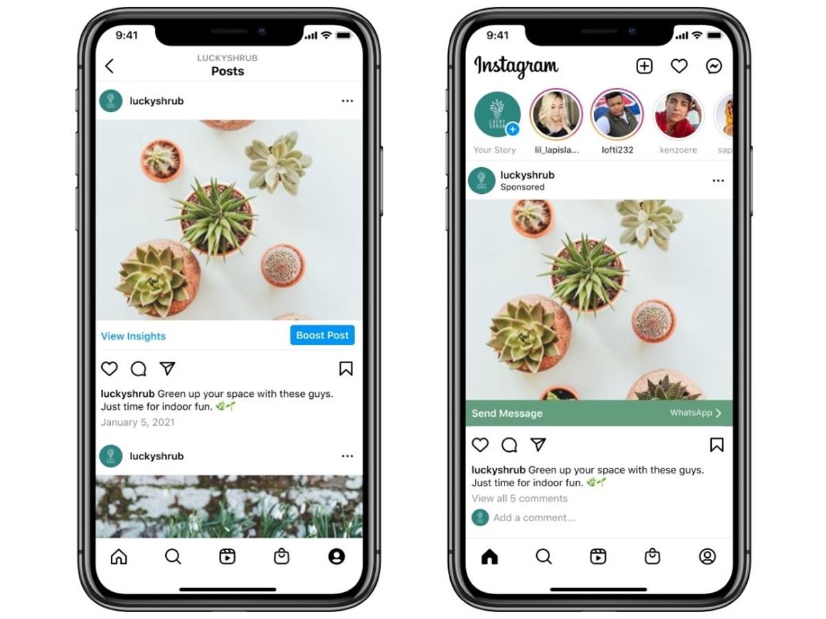 Instagram: potenzia i post che reindirizzano a WhatsApp